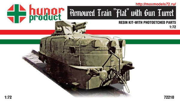 "HP72210    Armoured Train ""Flat"" Motor Gun Carriage with Gun-Turret (thumb27705)"