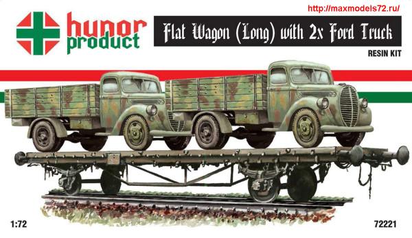 HP72221   MAV FLAT WAGON LONG with 2XFORD TRUCK (thumb27713)