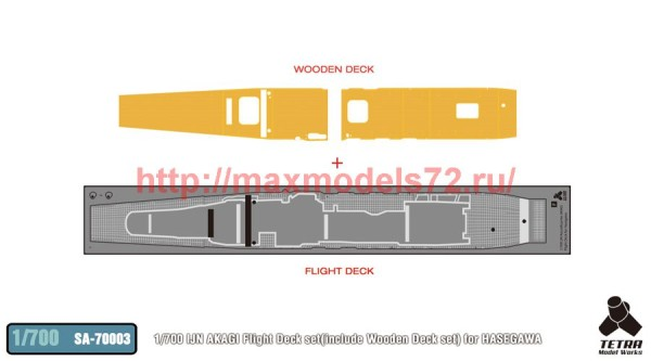 TetraSA-70003   1/700 IJN AKAGI Flight Deck set(include Wooden Deck set) for HASEGAWA (thumb36960)