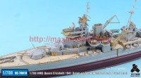TetraSE-70018   1/700 HMS Queen Elizabeth 1941 Detail-up Set w/Wooden Deck & Gun Barrel for Trumpeter (attach2 36801)