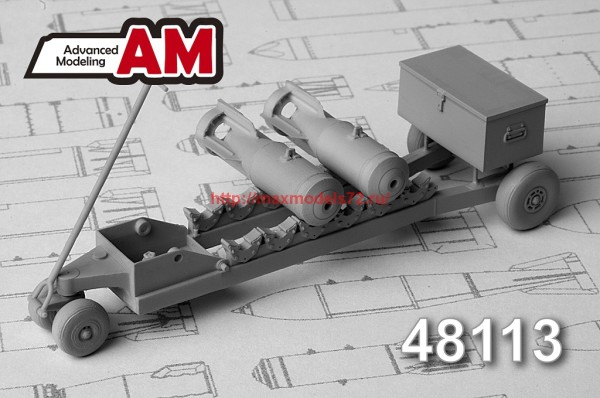 АМС 48113   Тележка для транспортировки 50-100 кг авиабомб (в комплекте тележка и две бомбы САБ-100 МН) (thumb37413)
