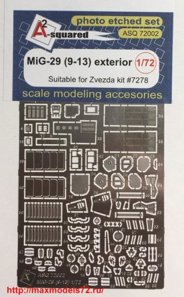A-squared72002   MIG-29  (9-13)  exterior set  for Zvezda kit (#7278) (thumb38548)