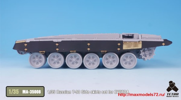 TetraMA-35008   1/35 Russian T-90 Side skirts set for ZVEZDA (thumb33467)