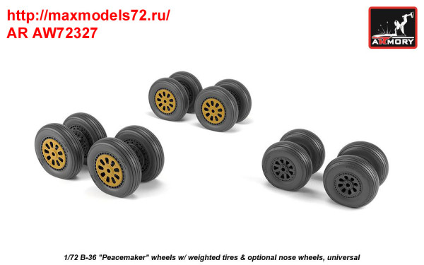 AR AW72327   1/72 B-36 Peacemaker wheels w/ weighted tires & optional nose wheels (thumb35810)