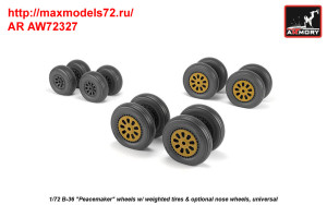 AR AW72327   1/72 B-36 Peacemaker wheels w/ weighted tires & optional nose wheels (attach2 35810)