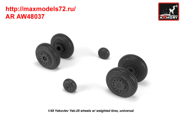 AR AW48037   1/48 Yak-28 wheels w/ weighted tires (thumb35800)