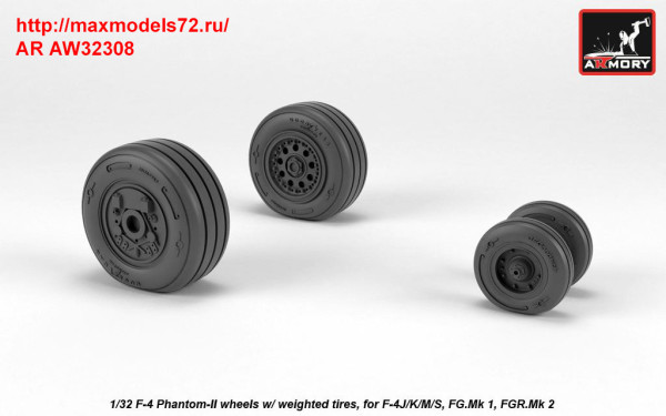 AR AW32308   1/32 F-4 Phantom-II wheels w/ weighted tires, late (thumb36133)