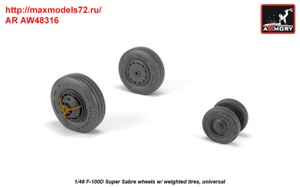 AR AW48316   1/48 F-100D Super Sabre wheels w/ weighted tires (thumb36138)