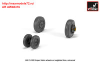 AR AW48316   1/48 F-100D Super Sabre wheels w/ weighted tires (attach1 36138)