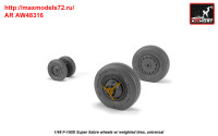AR AW48316   1/48 F-100D Super Sabre wheels w/ weighted tires (attach2 36138)