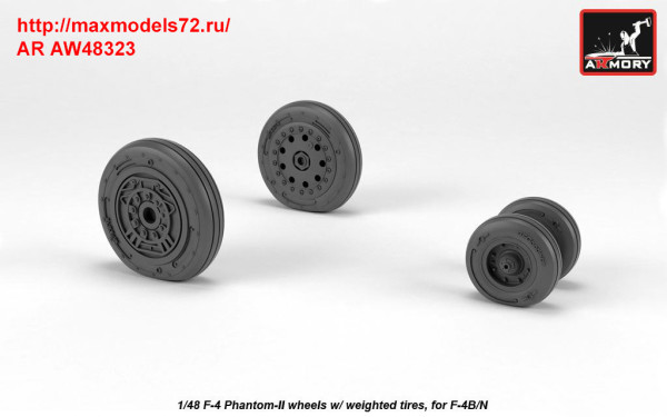 AR AW48323   1/48 F-4 Phantom-II wheels w/ weighted tires, early (thumb36143)