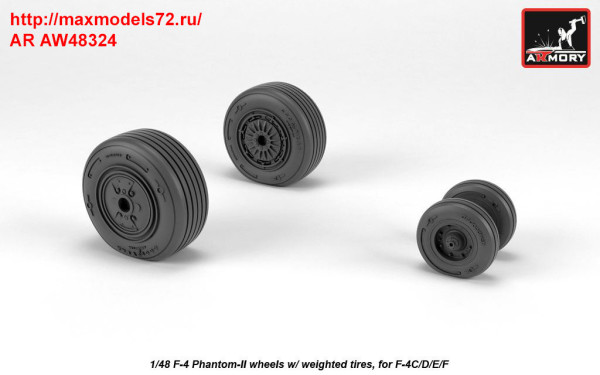 AR AW48324   1/48 F-4 Phantom-II wheels w/ weighted tires, mid (thumb36148)