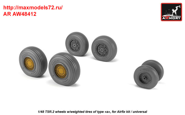 "AR AW48412   1/48 BAC TSR.2 wheels w/ weighted tires, type ""a"" (thumb36158)"