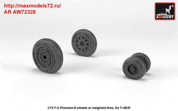 AR AW72328   1/72 F-4 Phantom-II wheels w/ weighted tires, early (thumb36168)