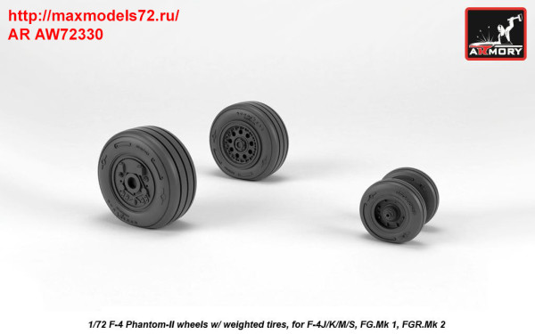 AR AW72330   1/72 F-4 Phantom-II wheels w/ weighted tires, late (thumb36178)