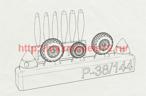 BRL144146   P-38 Wheels+proppelers (Fujimi kit) (thumb36304)