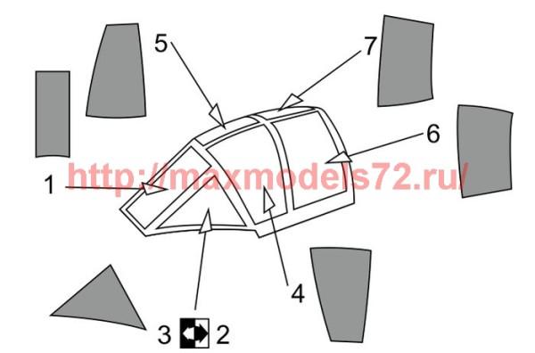 BRL72165   MXY-7 Ohka model 22 Canopy mask (Brengun kit) (thumb36360)