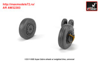 AR AW32303   1/32 F-100D Super Sabre wheels w/ weighted tires (attach3 36118)