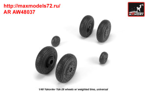 AR AW48037   1/48 Yak-28 wheels w/ weighted tires (attach1 35800)