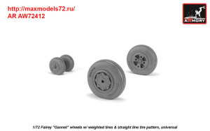 """AR AW72412   1/72 Fairey """"Gannet"""" early type wheels w/ weighted tires of straight tire pattern (attach2 38901)"""