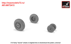 "AR AW72413   1/72 Fairey ""Gannet"" late type wheels w/ weighted tires of checkerboard tire pattern (thumb38906)"
