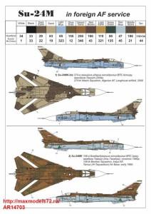 "AR14703   1/144 Sukhoj Su-24M ""Fencer"" in foreign service: Algeria, Iran, Iraq, Lybia, Syria (attach8 38911)"