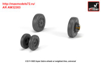 AR AW32303   1/32 F-100D Super Sabre wheels w/ weighted tires (attach1 36118)