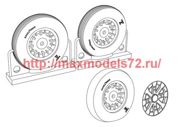 BRL48115   F4U Corsair Ribbed Thread Wheels set (thumb39423)