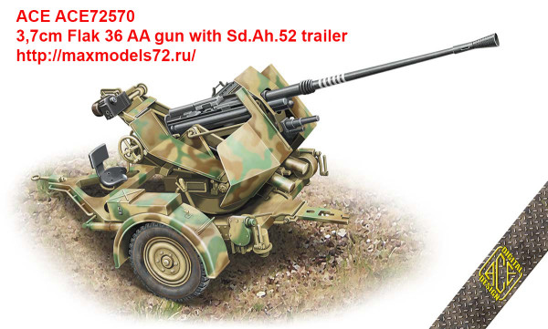 ACE72570   3,7cm Flak 36 AA gun with Sd.Ah.52 trailer (thumb41446)