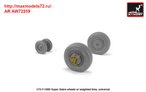 AR AW72319   1/72 F-100D Super Sabre wheels w/ weighted tires (attach2 38896)