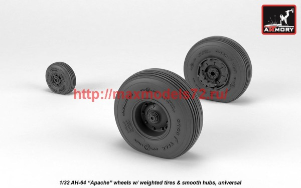 AR AW32311   1/32 AH-64 Apache wheels w/ weighted tires, smooth hubs (thumb41166)
