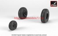 AR AW32311   1/32 AH-64 Apache wheels w/ weighted tires, smooth hubs (attach1 41166)
