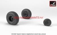 AR AW32311   1/32 AH-64 Apache wheels w/ weighted tires, smooth hubs (attach2 41166)