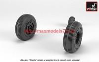 AR AW32311   1/32 AH-64 Apache wheels w/ weighted tires, smooth hubs (attach3 41166)