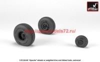 AR AW32312   1/32 AH-64 Apache wheels w/ weighted tires, spoked hubs (attach2 41171)