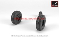 AR AW32312   1/32 AH-64 Apache wheels w/ weighted tires, spoked hubs (attach3 41171)
