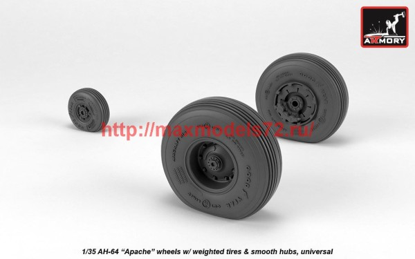 AR AW35304   1/35 AH-64 Apache wheels w/ weighted tires, smooth hubs (thumb41181)