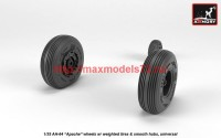 AR AW35304   1/35 AH-64 Apache wheels w/ weighted tires, smooth hubs (attach3 41181)
