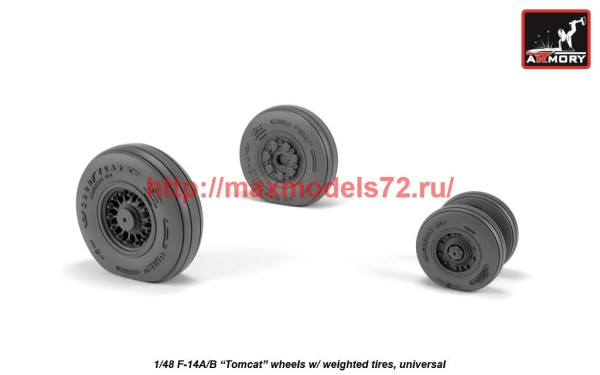 AR AW48326   1/48 F-14 Tomcat early type wheels w/ weighted tires (thumb41196)