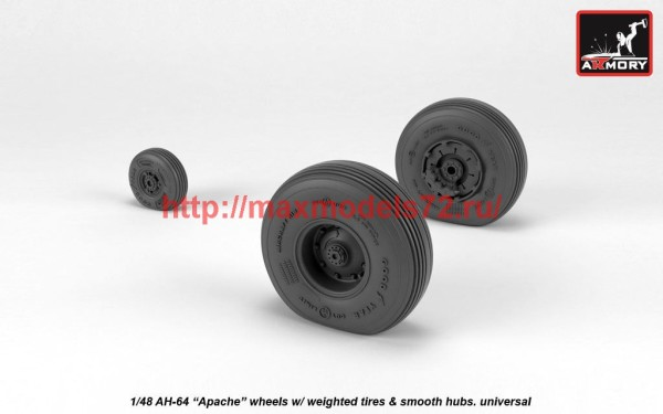 AR AW48330   1/48 AH-64 Apache wheels w/ weighted tires, smooth hubs (thumb41210)