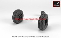 AR AW48330   1/48 AH-64 Apache wheels w/ weighted tires, smooth hubs (attach3 41210)