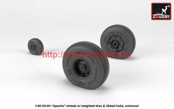 AR AW48331   1/48 AH-64 Apache wheels w/ weighted tires, spoked hubs (thumb41215)