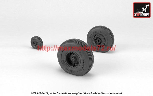 AR AW72336   1/72 AH-64 Apache wheels w/ weighted tires, spoked hubs (thumb41255)