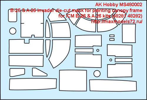 AK Hobby MS480002   B-26 & A-26 Invader die-cut mask for painting canopy frame  for ICM B-26 & A-26 kits (48281 48282) (thumb42909)