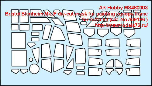 AK Hobby MS480003   Bristol Blenheim Mk.IF die-cut mask for painting canopy frame  for Airfix kit (cat. No A09186 ) (thumb42920)