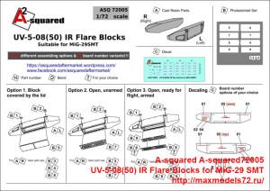 A-squared72005   UV-5-08(50) IR Flare Blocks for MiG-29 SMT. (attach1 40460)