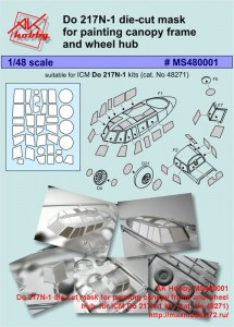 AK Hobby MS480001   Do 217N-1 die-cut mask for painting canopy frame and wheel hub  for ICM Do 217N-1 kit  (cat. No 48271) (attach2 42898)