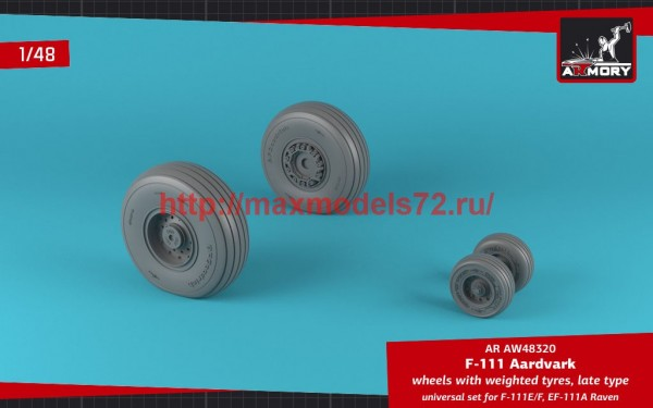 AR AW48320   1/48 F-111 Aardvark late type wheels w/ weighted tires (thumb47758)