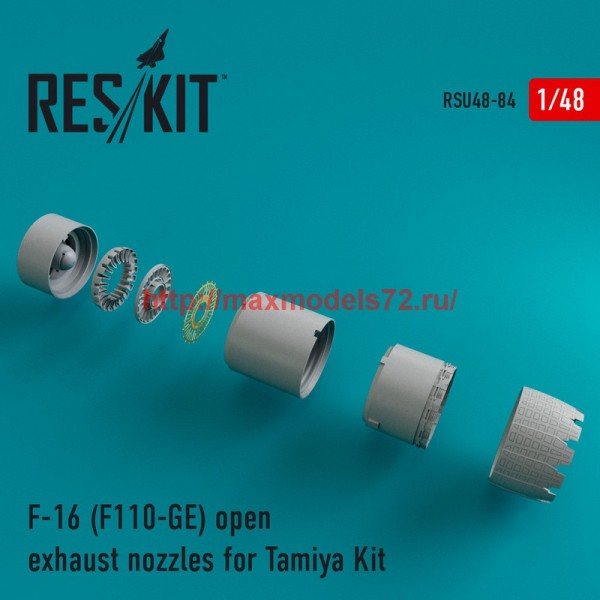 RSU48-0084   F-16 (F110-GE) open exhaust nozzles for Tamiya Kit (thumb44581)