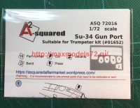 A-squared72016   Su-34 gun port (photoetched detailing set) for Trumpeter kit (attach2 45784)